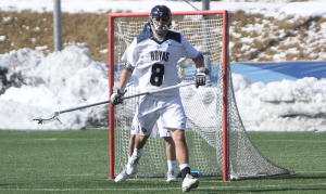 STANLEY DAI/THE HOYA Senior defender and co-captain Nic Mahaney has two ground balls this season and has taken two shots, including one in Georgetown's loss to Duke on Saturday. Mahaney finished the 2015 season with seven ground balls and two caused turnovers.
