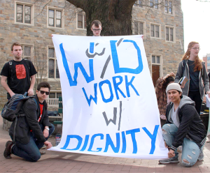 COURTESY GEORGETOWN SOLIDARITY COMMITTEE Student workers and members of the Georgetown community joined a rally organized by GSC to show solidarity with workers who were mistreated during Winter Storm Jonas.