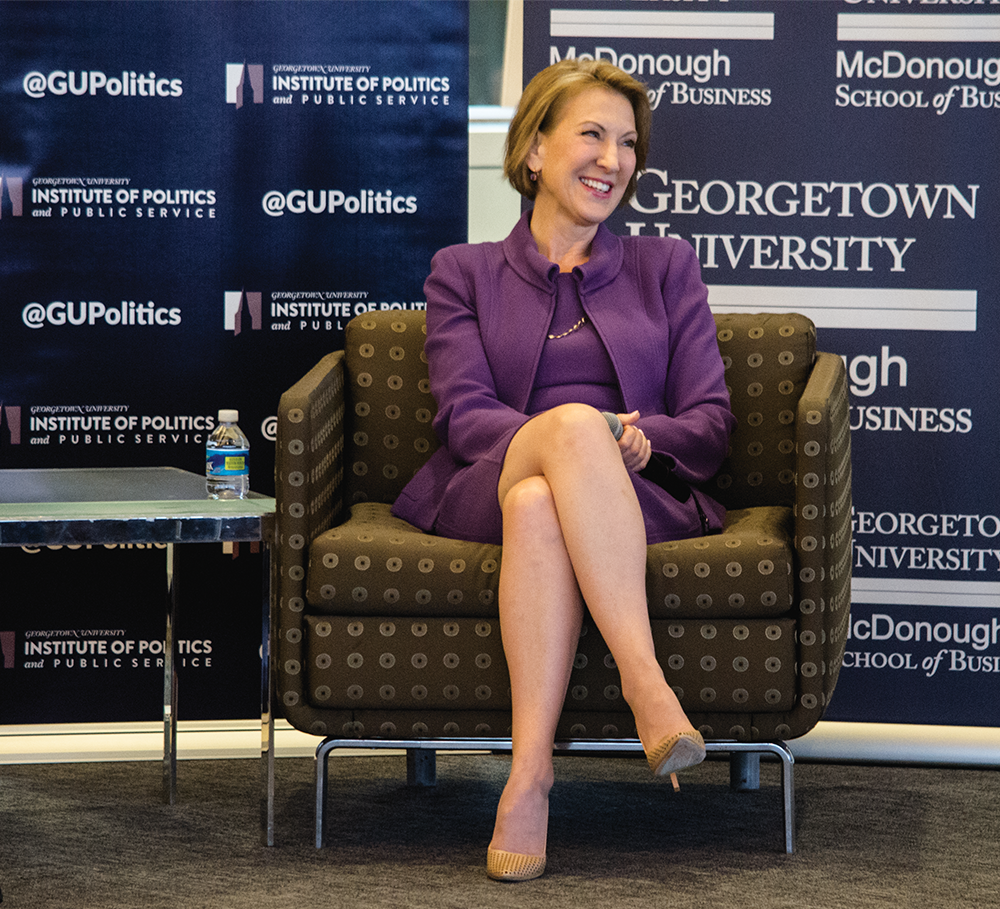 "STANLEY DAI/THE HOYA Former Hewlett-Packard Executive Officer Carly Fiorina discussed her bid for the 2016 presidential nomination as part of the GU Politics series ""Reflections on Running"" March 15."