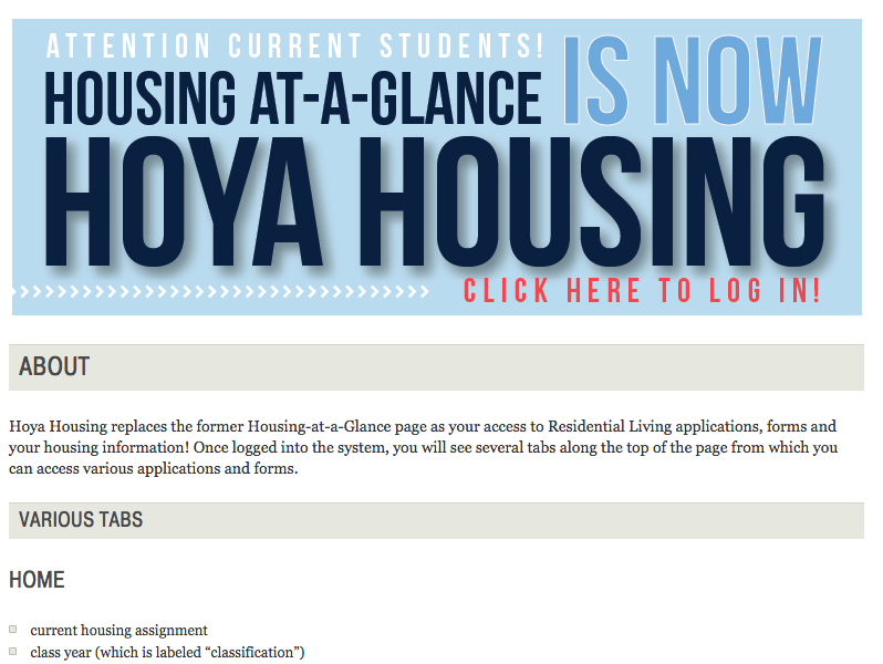Office of Residential Living Introduces Hoya Housing Portal