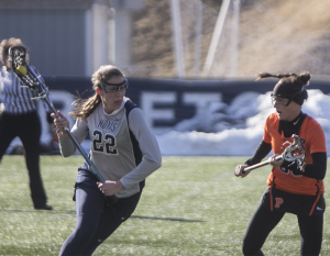 STANLEY DAI/THE HOYA Sophomore midfielder Hannah Seibel had one assist and took two shots in Georgetown's 10-4 loss to No. 19 Johns Hopkins on Saturday. Seibel has two goals this season.
