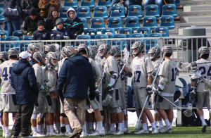 CLAIRE SOISSON/THE HOYA The Georgetown men's lacrosse team has won one game so far in its 2016 campaign against then-No. 8 Hofstra. Two of the Hoyas' five losses have been against ranked teams.