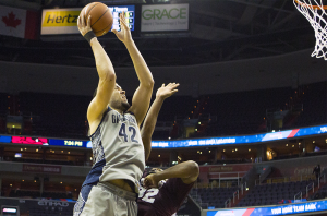 FILE PHOTO: Stanley Dai/THE HOYA Senior center and co-captain Bradley Hayes averaged 8.7 points per game and 6.7 rebounds per game this season. He appeared in 27 out of 33 games and recorded four double-doubles.