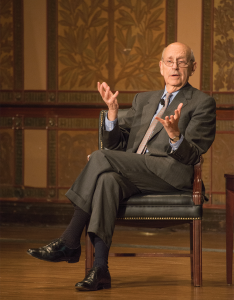NATE MOULTON/THE HOYA Supreme Court Associate Justice Stephen Breyer spoke on the value of a global perspective in Gaston Hall.