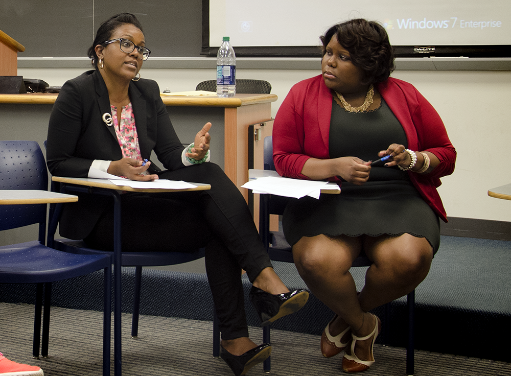 JOHN CURRAN/THE HOYA Health Education Services sexual assault specialist Jennifer Wiggins and CAPS sexual trauma specialist Erica Shirley addressed misconceptions of intimate-partner violence at a roundtable discussion in the Intercultural Center on Thursday.