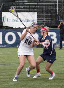 FILE PHOTO: CLAIRE SOISSON/THE HOYA Senior midfielder Kristen Bandos scored five goals in Georgetown's 12-9 loss to Loyola on March 22. She has 18 goals this season.