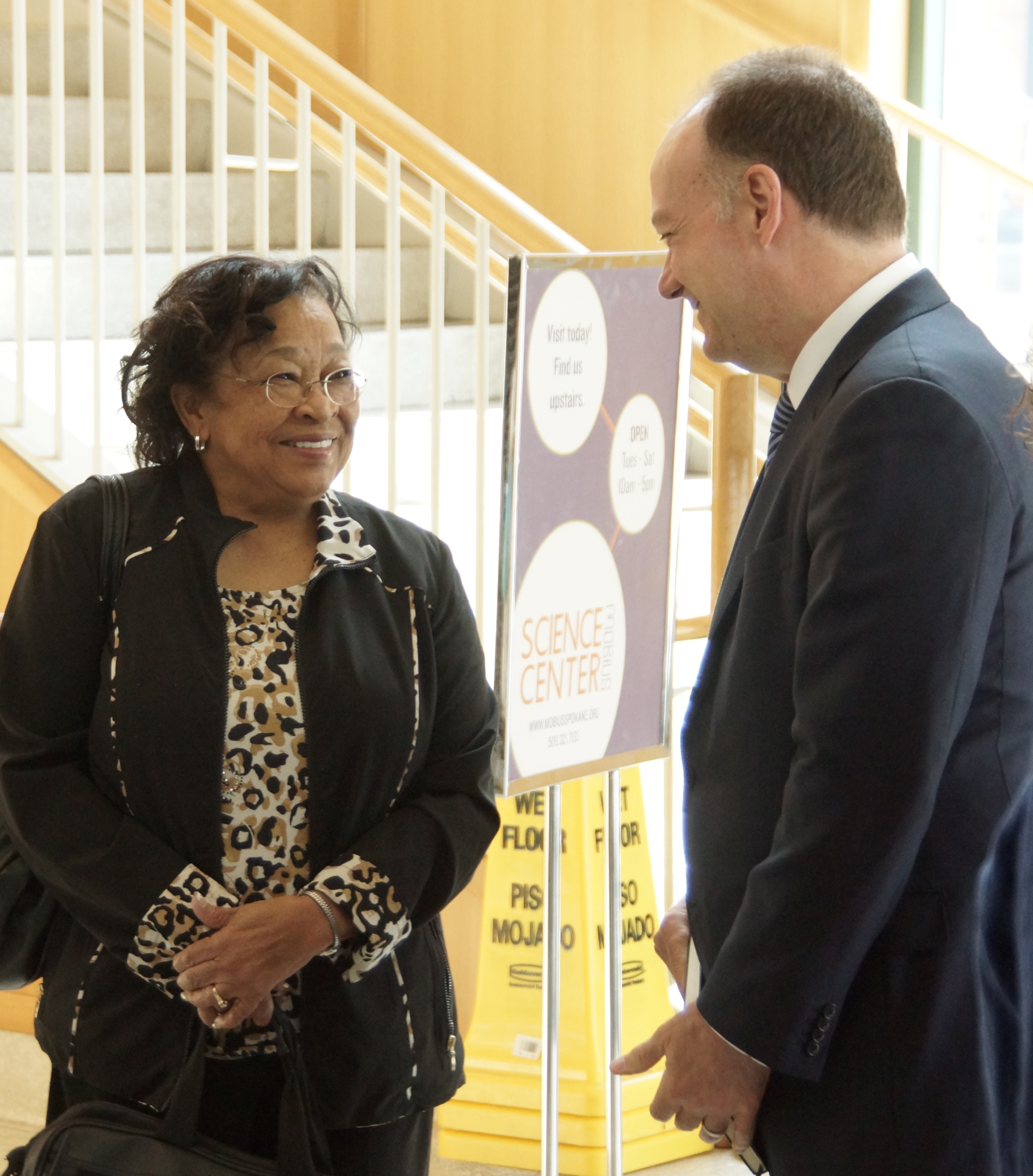 JERRY JOHNSON University President John J. DeGioia met with Patricia Bayonne Johnson, a descendant of one of the 272 slaves sold by Georgetown to a Louisiana plantation in 1838, in Spokane, Wash., on Monday, June 13.