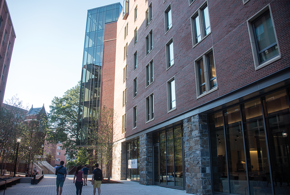 NAAZ MODAN/THE HOYA Pedro Arrupe, S.J. Residence Hall began housing its first students this month, joining other completed construction projects including the John R. Thomspon Jr. Intercollegiate Athletics Center.