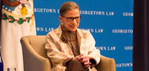 COURTESY GULC Supreme Court Justice Ruth Bader Ginsburg addressed first-year law students at the Georgetown University Law Center on Thursday, highlighting her time with the late Justice Antonin Scalia.