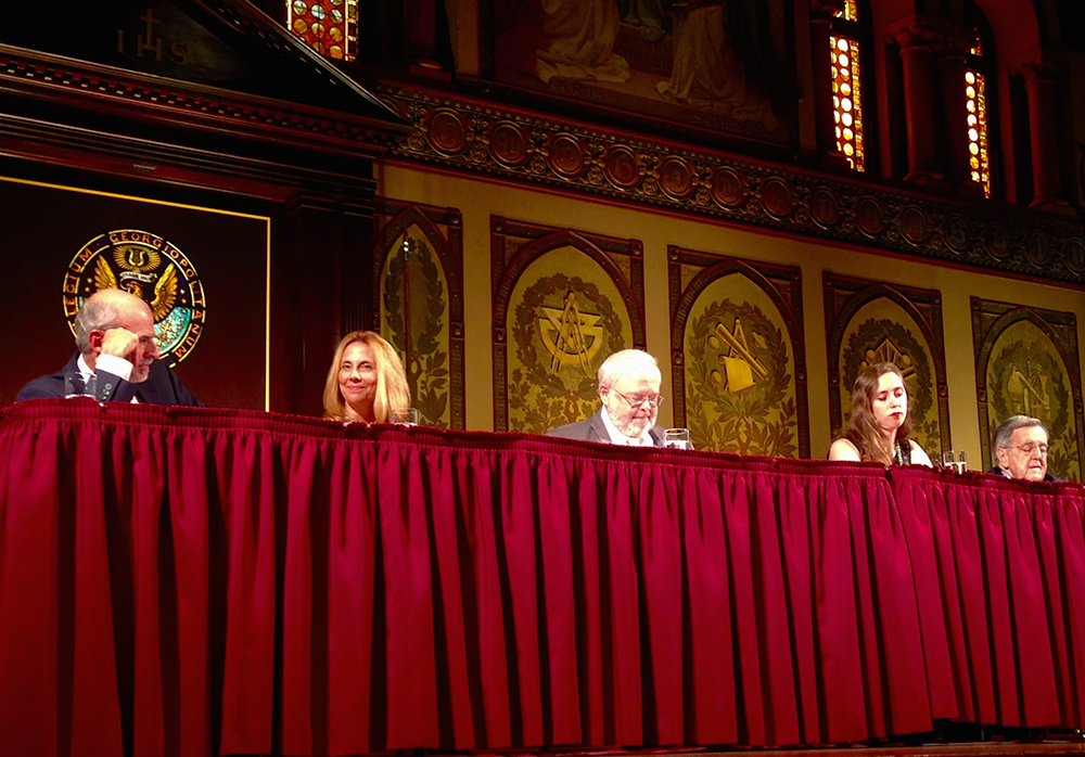 """ELLEN BAKER/THE HOYA The Initiative on Catholic Social Thought and Public Life sponsored the panel """"Faith, Anger and Trust in Campaign 2016,"""" which focused on the current political climate."""