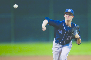 GEORGETOWN ATHLETICS Junior pitcher Simon Mathews was 5-4 in the 2015-16 season. He had an ERA of 2.45 and threw a team-leading five complete games to go along with a team-high 95.1 innings pitched.