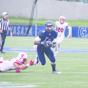 ILE PHOTO: ISABEL BINAMIRA/THE HOYA Senior wide receiver Justin Hill appeared in 10 games last season. He caught six touchdowns and had a team-leading 13.8 average yards per catch on his way to being named to the All-Patriot League Second Team.