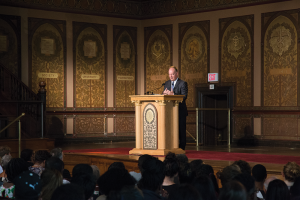 STEPHANIE YUAN/THE HOYA Hours after the release of the report by the Working Group on Slavery, Memory and Reconciliation, President DeGioia gave an address to discuss how the administration would take steps to acknowledge the university's slaveholding past and its debt to the descendants.