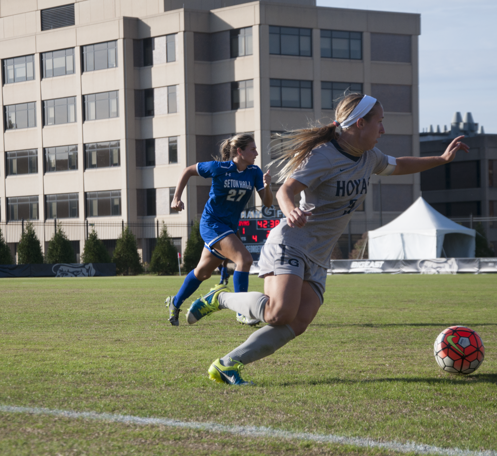 FILE PHOTO: ELIZA MINEAUX/the hoya Graduate student forward Crystal Thomas scored one goal against Xavier, increasing her season total to four goals, the third highest on the team.