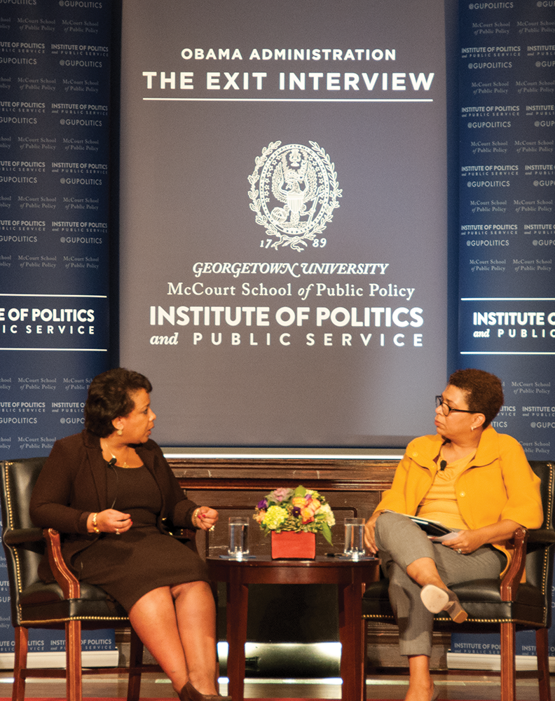 """YEON CHO FOR THE HOYA U.S. Attorney General Loretta Lynch discussed a national data collection program in her """"Exit Interview."""""""