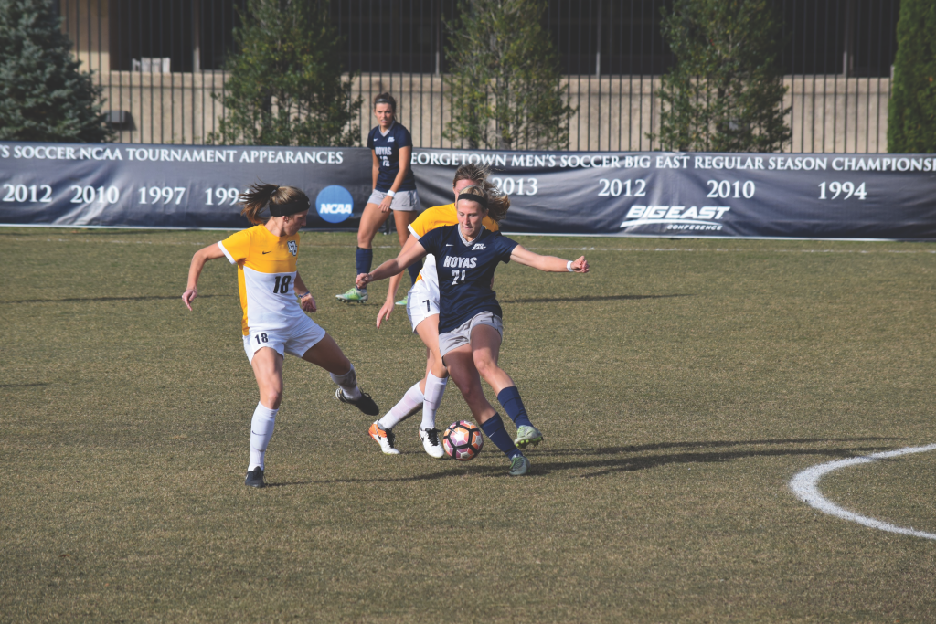 FILE PHOTO: AIDAN CURRAN/THE HOYA Senior forward Grace Damaska scored one of Georgetown's two goals in Sunday's Big East Championship win over Marquette. Damaska leads the team with 13 goals this season and has also tallied five assists.