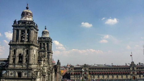 ZOCALO PLAZA, NEAR TEMPLO MAYOR AND THE NATIONAL CATHEDRAL   COURTESY OF FRIDA SANTIAGO