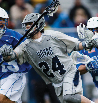 Redshirt junior attack and co-captain Peter Conley registered a team-high five goals in Saturday's loss to Notre Dame. (COURTESY GUHOYAS)