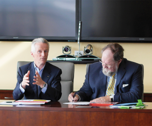 COURTESY INNOVATION FOUNDRIES Gruppo Illy S.p.A. President Ricardo Illy, left, and McDonough School of Business professor Michael R. Czinkota examined the fate of Italian manufacturing in a increasingly globalized world.