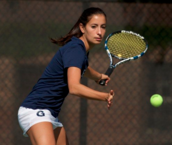 Junior Daphne de Chatellus won her singles match in a 7-6, 6-1 finish in Georgetown's win over George Mason.  (COURTESY GUHOYAS)