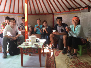 The volunteers trying fermented horse milk and cheese | COURTESY STELLA CAI
