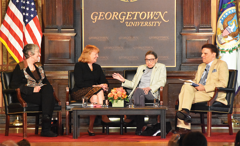 JESUS RODRIGUEZ/THE HOYA Justice Ruth Bader Ginsburg spoke about her life experiences and perspective on gender equality on Thursday.