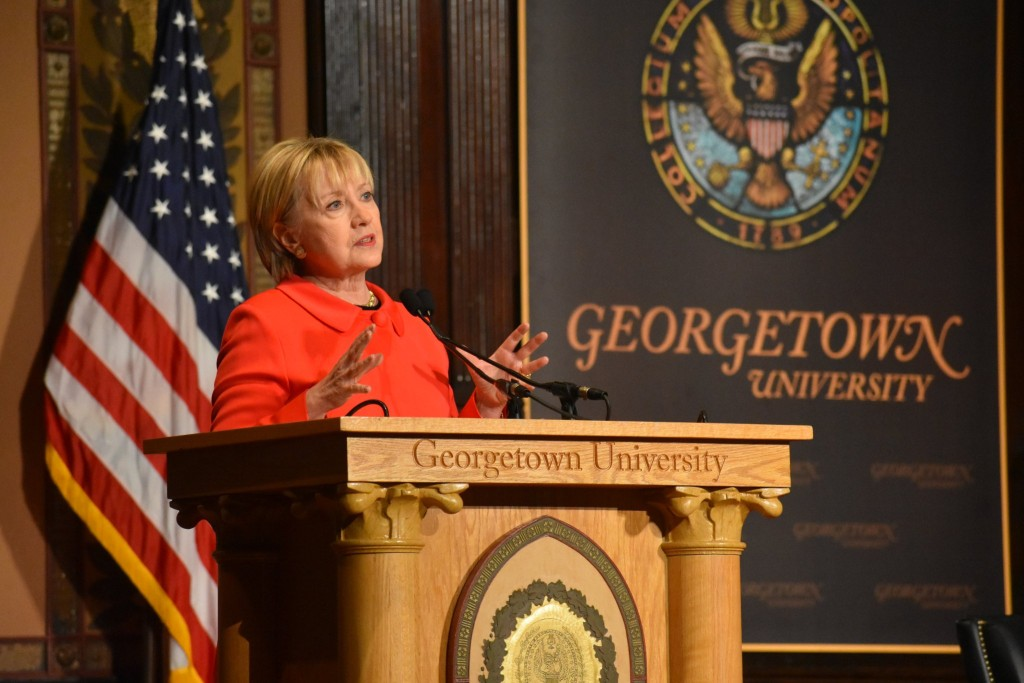 JESUS RODRIGUEZ/THE HOYA Former Secretary of State Hillary Clinton advocated continued American leadership abroad in a speech in Gaston Hall on Friday.