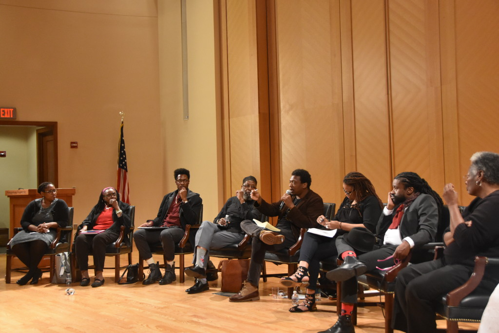 """Civil rights activists and Black Lives Matter activists engaged in a panel discussion as part of a day of events commemorating the 50th anniversary of Martin Luther King Jr.'s """"Beyond Vietnam"""" speech. (JEANINE SANTUCCI/THE HOYA)"""