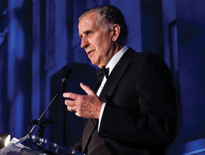 GEORGETOWN UNIVERSITY Former NFL commissioner and Georgetown Board of Directors Vice Chair Paul Tagliabue (COL '62) discussed the process of hiring Patrick Ewing (COL '85) as men's basketball team head coach.