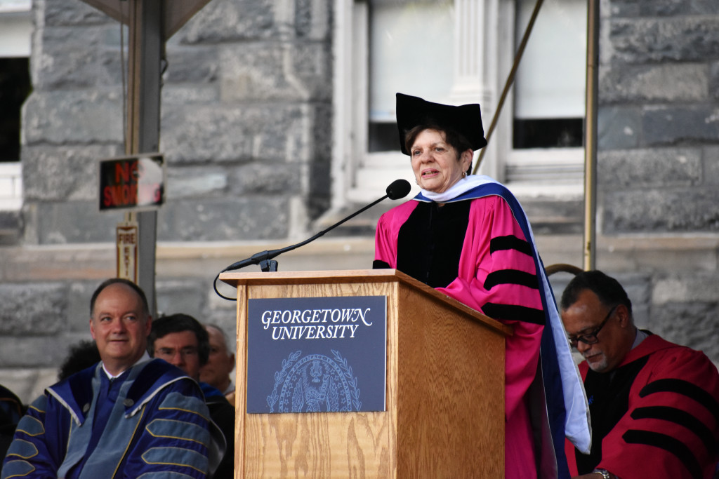 JESUS RODRIGUEZ/THE HOYA Alice Rivlin, a Brookings Institution senior fellow and visiting professor of the McCourt School of Public Policy, addressed the school's graduating class yesterday.